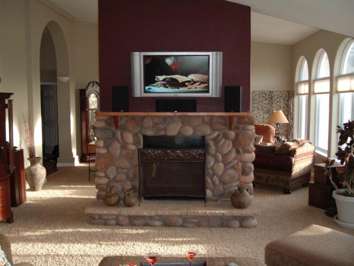 Fireplace Mantle Remodel With Mounted TV