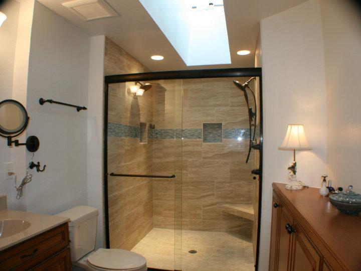 Remodeled Shower with Glass Doors